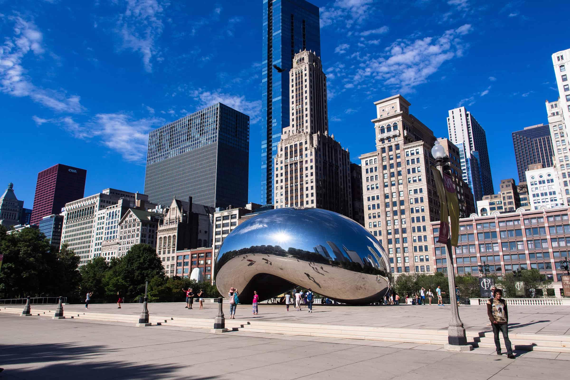 Cloud Gate bij het Millennium Park in Chicago
