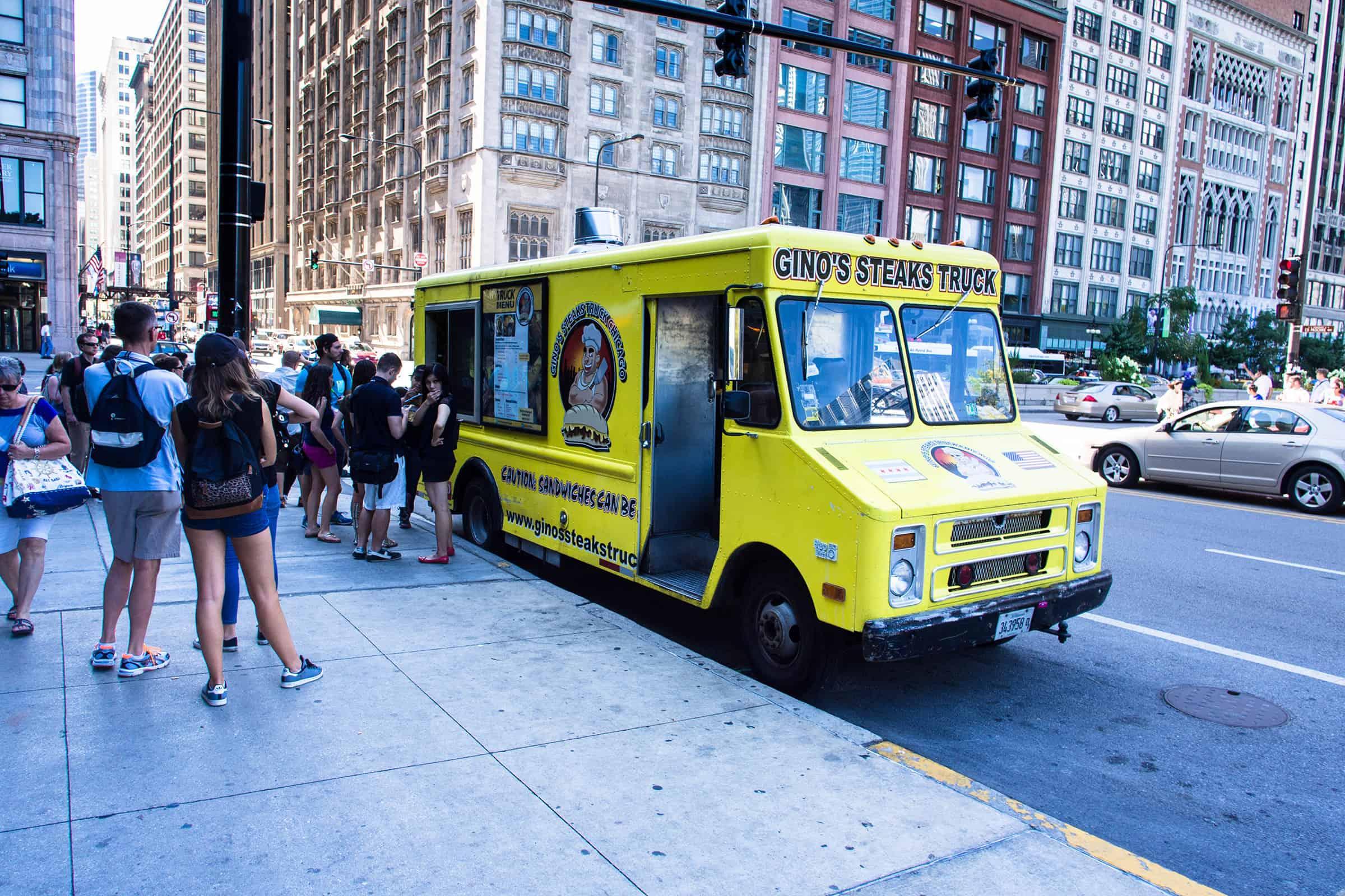 Food trucks bij het Millennium Park