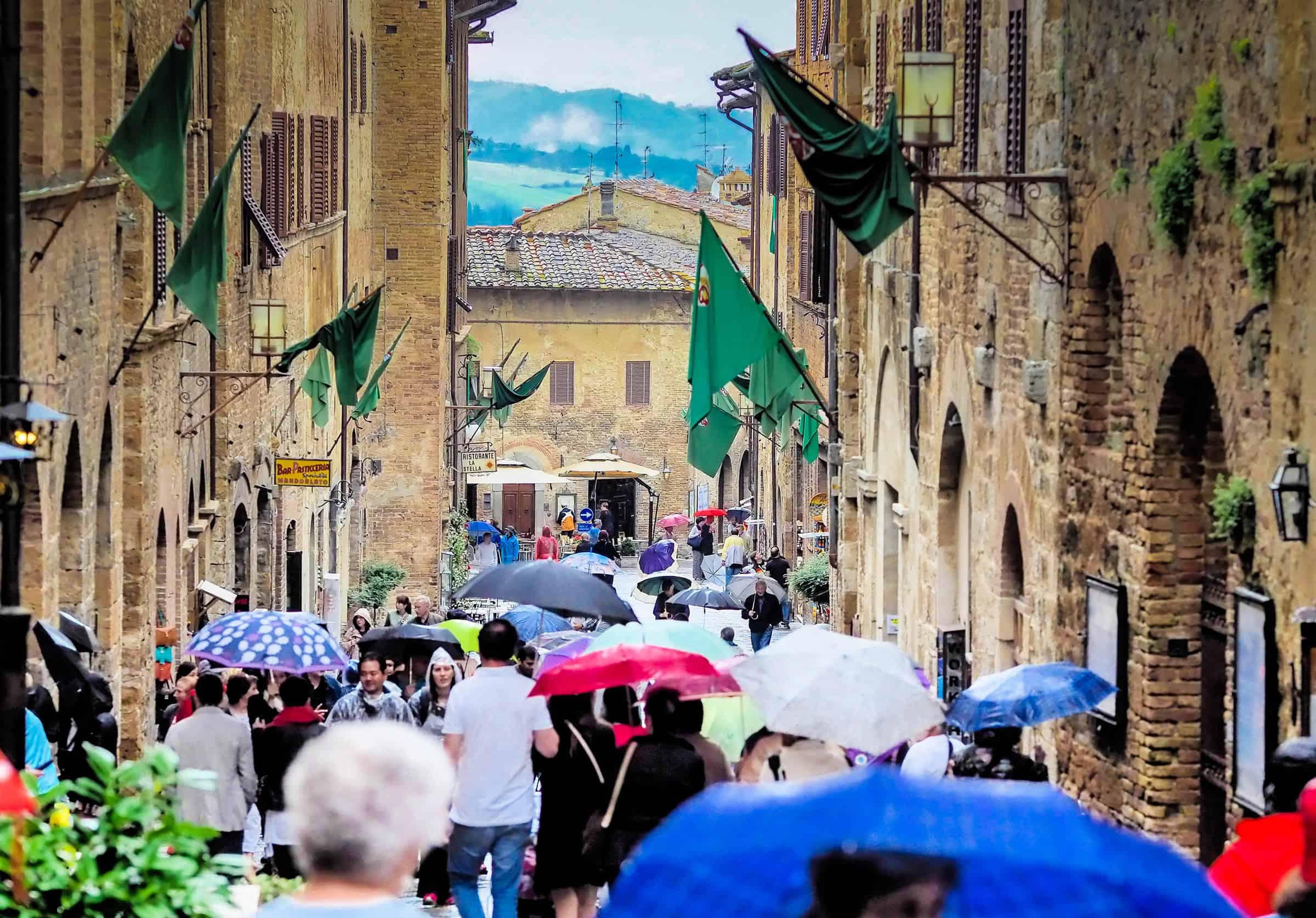 Het toeristische centrum van San Gimignano