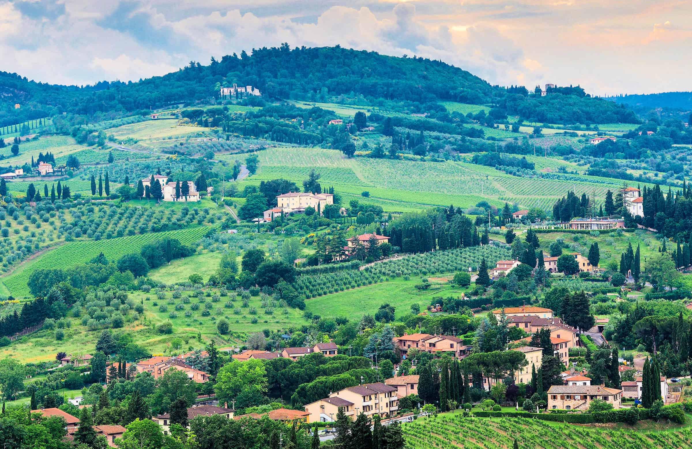 Toscaanse heuvels rondom de camping