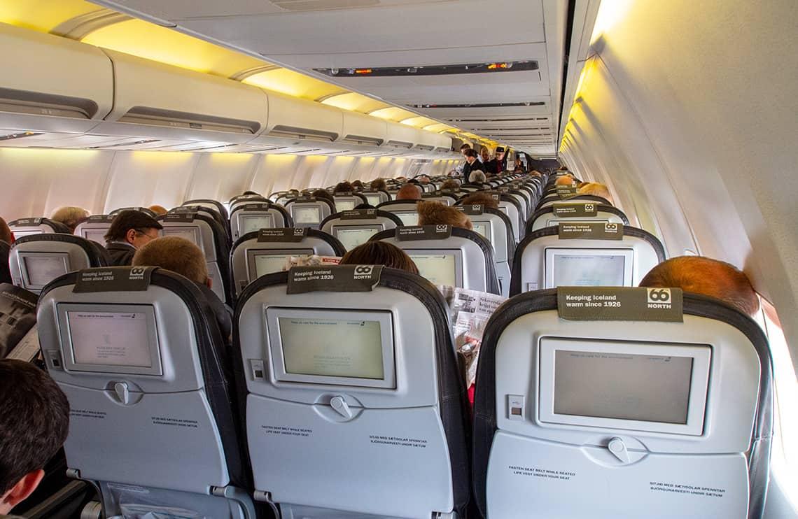 Icelandair toestel van binnen