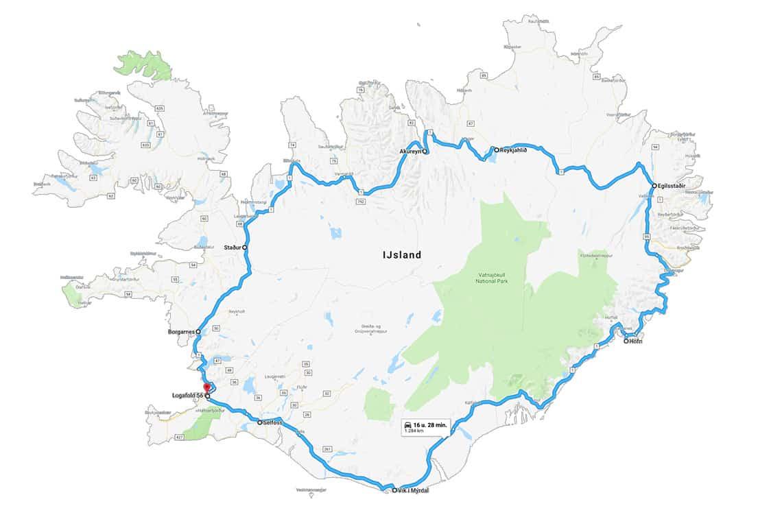 Kaart ringweg 1 IJsland