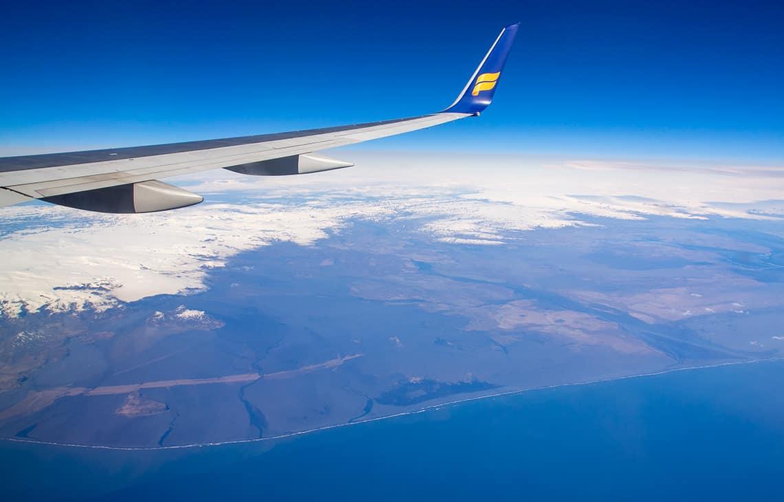 Uitzicht IJsland vanuit vliegtuig