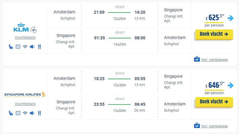 Voorbeeld tickets Singapore Airlines en KLM