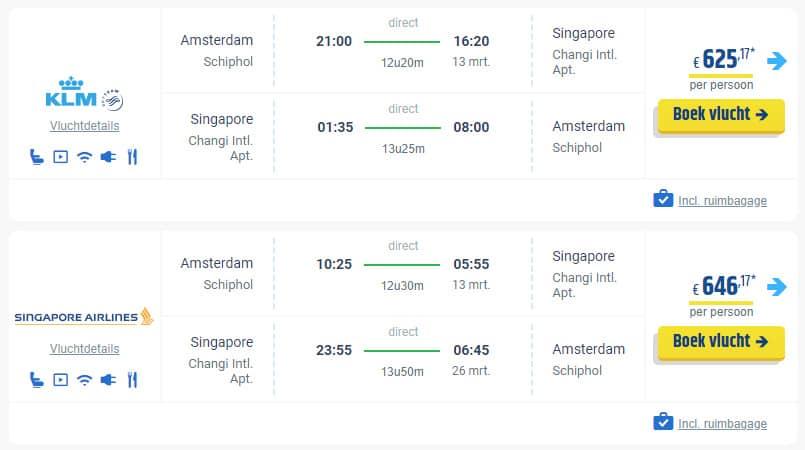 Voorbeeld tickets Singapore Airlines en KLM